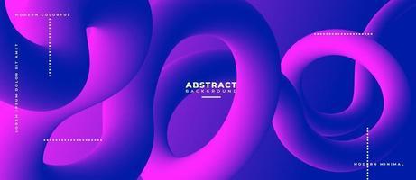 mörkblå och magenta 3d flytande vågform abstrakt flytande bakgrund. vektor