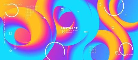 3D-blaue und magentafarbene flüssige Wellenform abstrakter gelber flüssiger Hintergrund. vektor