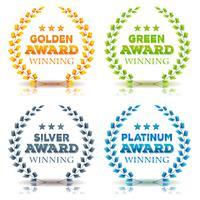 Utmärkelser Vinnande Och Laurel Leaves Set vektor