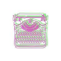 Vintage-Vektor-Illustrationen von Retro-Schreibmaschine vektor