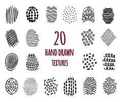 Satz von 20 handgezeichneten Texturen vektor