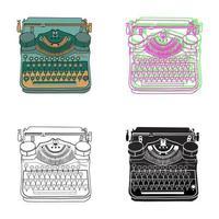 Set mit 4 Vintage-Schreibmaschinen in Pastellfarben vektor