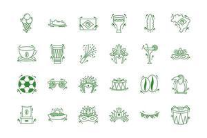 Bündel von Brasilien-Set-Icons vektor