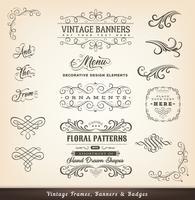 Vintage Kalligrafiska Design Banderoller