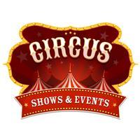 Cirkusbanner med stor topp