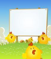 Vår påsk kyckling och trä tecken vektor