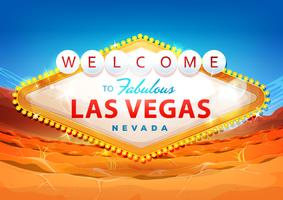 Välkommen till Las Vegas Tecken på Ökenbakgrund