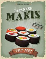 Grunge och vintage japanska Makisaffischen