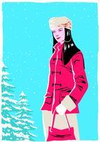 Kvinna Modell Porträtt I Vinter Utomhus vektor