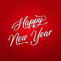 Frohes neues Jahr-Beschriftungskarte vektor
