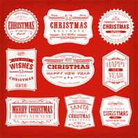 Julramar, banderoller och märken vektor
