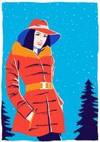 Ung kvinna modellporträtt i vinter utomhus vektor
