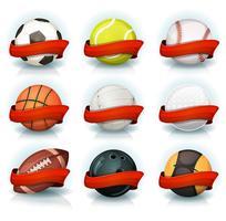 Set av sportbollar med röda banderoller