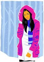 Vacker modellporträtt i vinter utomhus vektor