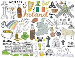 Irland Skizze Kritzeleien. Hand gezeichnete irische Elemente mit Flagge und Karte von Irland, keltischem Kreuz, Burg, Kleeblatt, keltischer Harfe, Mühle und Schaf, Whiskyflaschen und irischem Bier, Vektorillustration gesetzt vektor