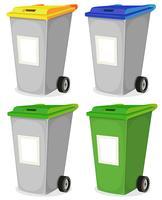 Satz des städtischen wiederverwertbaren Papierkorbs