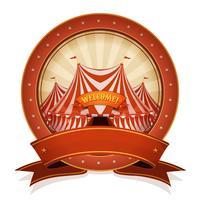 Vintage cirkus märke och band med stor topp