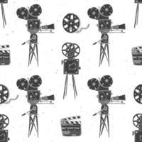 Kamera, Filmrolle und Filmklappe, nahtloses Vintage-Muster, handgezeichnete Skizze, Retro-Filmindustrie, Vektorillustration vektor