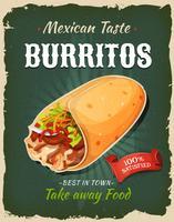 Retro snabbmat mexikansk burritosaffisch