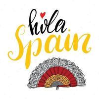 Hallo Spanien Hand gezeichnete Grußkarte mit Schriftzug und skizzierte Rose. Vektorillustration lokalisiert auf weißem Hintergrund vektor