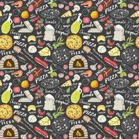 handgezeichnete Skizze des nahtlosen Musters der Pizza. Pizza kritzelt Lebensmittelhintergrund mit Mehl und anderen Lebensmittelzutaten, Ofen- und Küchenwerkzeugen. Vektorillustration vektor