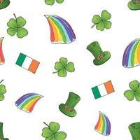 Hand gezeichnetes Gekritzel nahtloses Muster des St. Patrick's Day mit Koboldhut, Topf mit Goldmünzen, Regenbogen, Bier, vierblättrigem Kleeblatt, Hufeisen, keltischer Harfenvektorillustrationshintergrund vektor