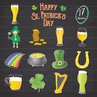 Handgezeichnete Gekritzelikonen des St. Patricks Day handgefertigt, mit Kobold, Topf mit Goldmünzen, Regenbogen, Bier, vier Leefklee, Hufeisen, keltischer Harfe und Flagge von Irland Vektorillustration. vektor