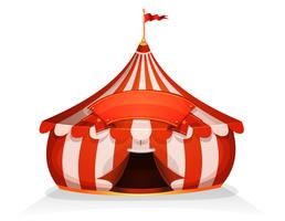 Großes oberes kleines Zirkuszelt mit Fahne vektor