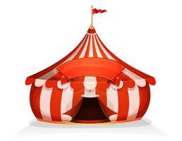stort lilla cirkus tält med banner