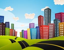 Im Stadtzentrum gelegene Straßenlandschaft der Karikatur vektor