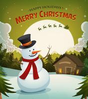 Julafton med snögubbe bakgrund vektor