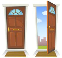 Rote Tür der Karikatur, geöffnet und geschlossen