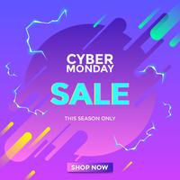 Electric Cyber Monday Sale Social Media Post Vector