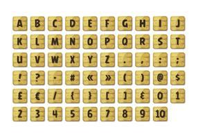 Alphabet-Guss eingestellt auf hölzerne Zeichen