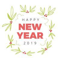 Söta julblad med nytt år Text vektor