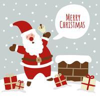 Nette Weihnachtsszene mit Sankt vektor