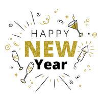 Gulligt nytt år bakgrund vektor