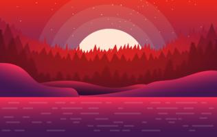 Vektor-rote Landschaftsabbildung vektor