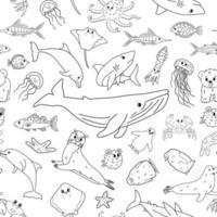 Schwarz-Weiß-nahtloses Vektormuster von Cartoon-Umriss isolierte Meerestiere Wal, Delfin, Hai, Stachelrochen, Qualle, Fisch, Sterne, Krabbe, Königspinguinküken, Tintenfisch, Pelzrobbe, Eisbär vektor