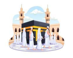 islamische Pilgerfahrt zum Hadsch. Menschen laufen um die Kaaba-Vektorillustration herum vektor