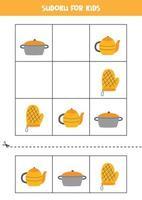Sudoku-Spiel für Kinder mit Cartoon-Küchenartikeln. vektor