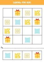 Sudoku-Spiel für Kinder mit Cartoon-Quadrat-Objekten. vektor