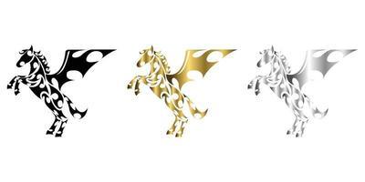 Dreifarbiger schwarzer Gold-Silber-Linien-Kunstvektor des Pferdes mit angehobenen Vorderbeinen, geeignet für die Verwendung als Dekoration oder Logo vektor