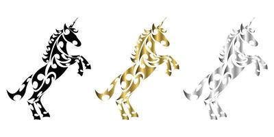 Dreifarbiger schwarzer Gold-Silber-Linien-Kunstvektor des Einhorns mit angehobenen Vorderbeinen, geeignet für die Verwendung als Dekoration oder Logo vektor
