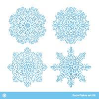 Schneeflockenvektorsymbole, Weihnachtsschneeikonen eingestellt