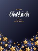 Weihnachtsgoldsternhintergrund, mit Perlen und Lichtern