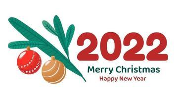 minimalistisches Banner oder Grußkarte für frohe Weihnachten und ein glückliches neues Jahr. flache Vektorgrafik mit Tannenzweig und Kugeln vektor