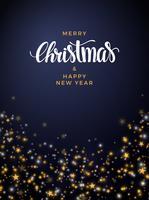 Julguldstjärna bakgrund, med pärlor och ljus