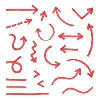 Hand gezeichneter Pfeil rot gesetzt vektor