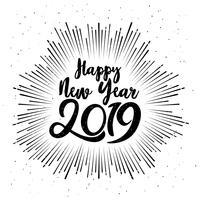 Gott Typografiskt 2019 Nyår. Vektorillustration Med Lettering Sammansättning Och Burst. Holiday vintage festlig etikett